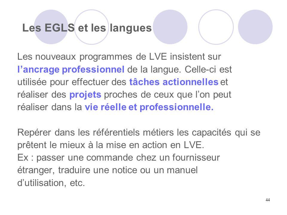 Les EGLS et les langues Les nouveaux programmes de LVE insistent sur