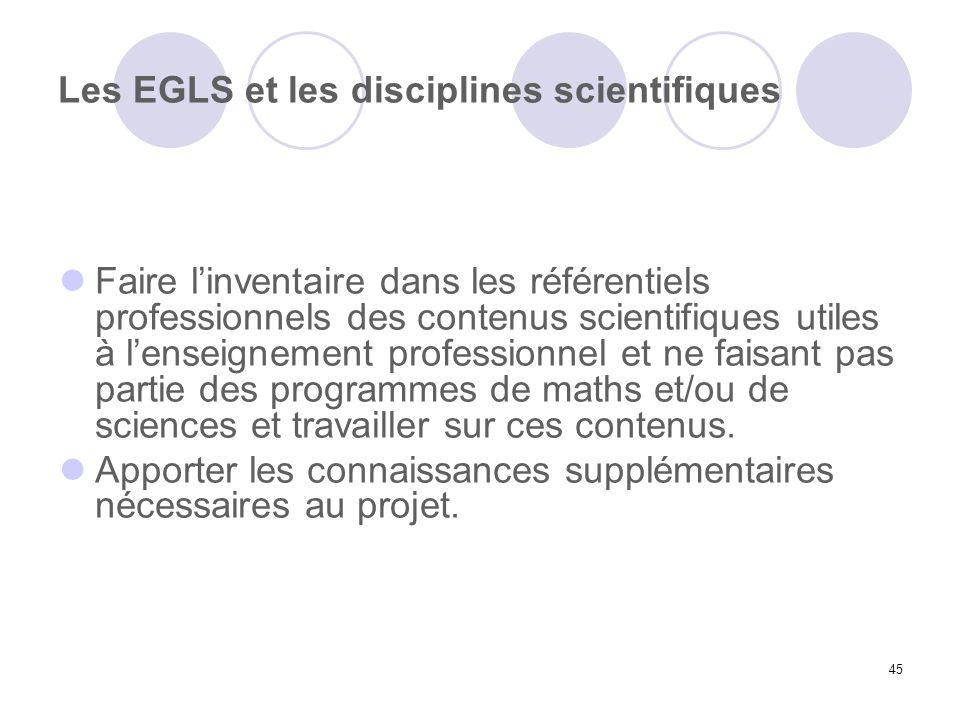 Les EGLS et les disciplines scientifiques