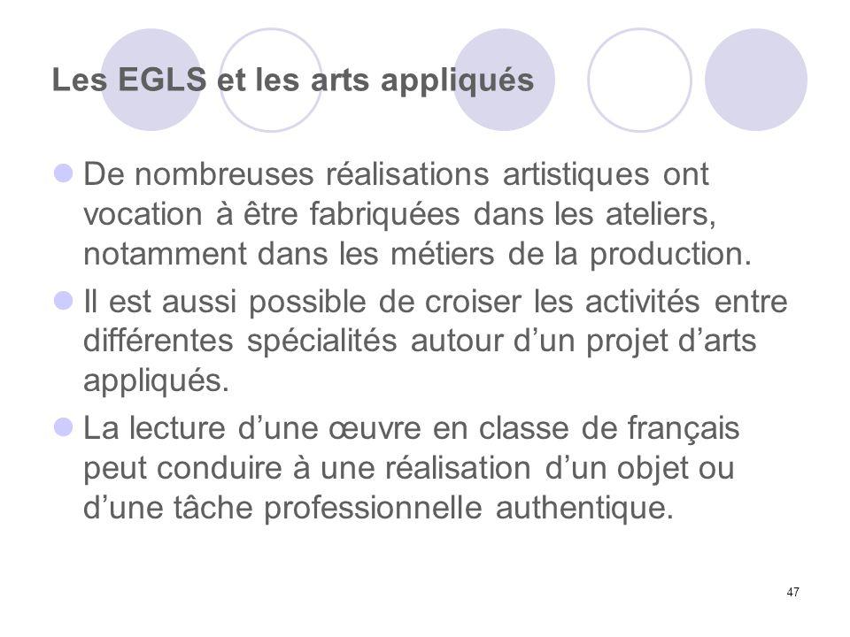 Les EGLS et les arts appliqués