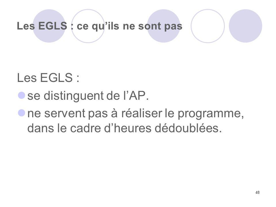 Les EGLS : ce qu'ils ne sont pas