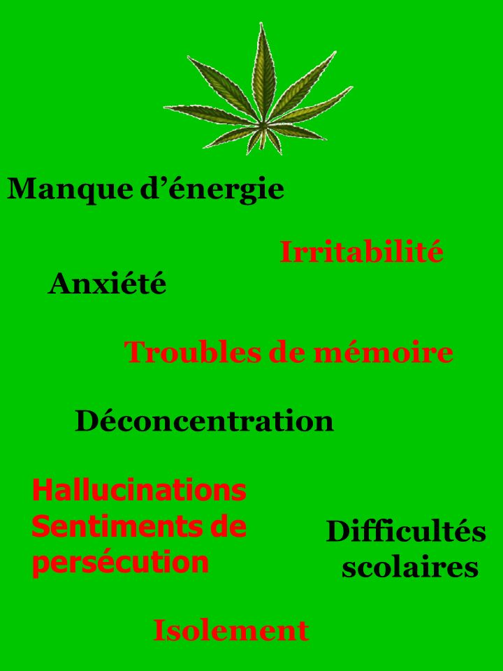 Manque d'énergie Irritabilité. Anxiété. Troubles de mémoire. Déconcentration. Hallucinations. Sentiments de persécution.