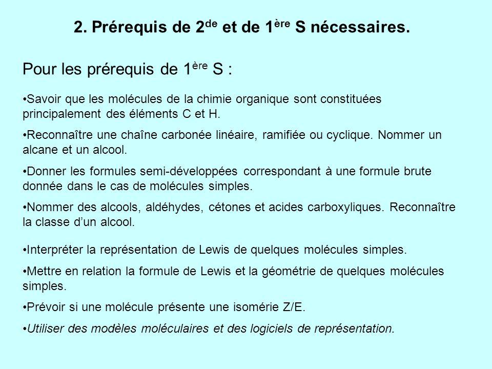 2. Prérequis de 2de et de 1ère S nécessaires.