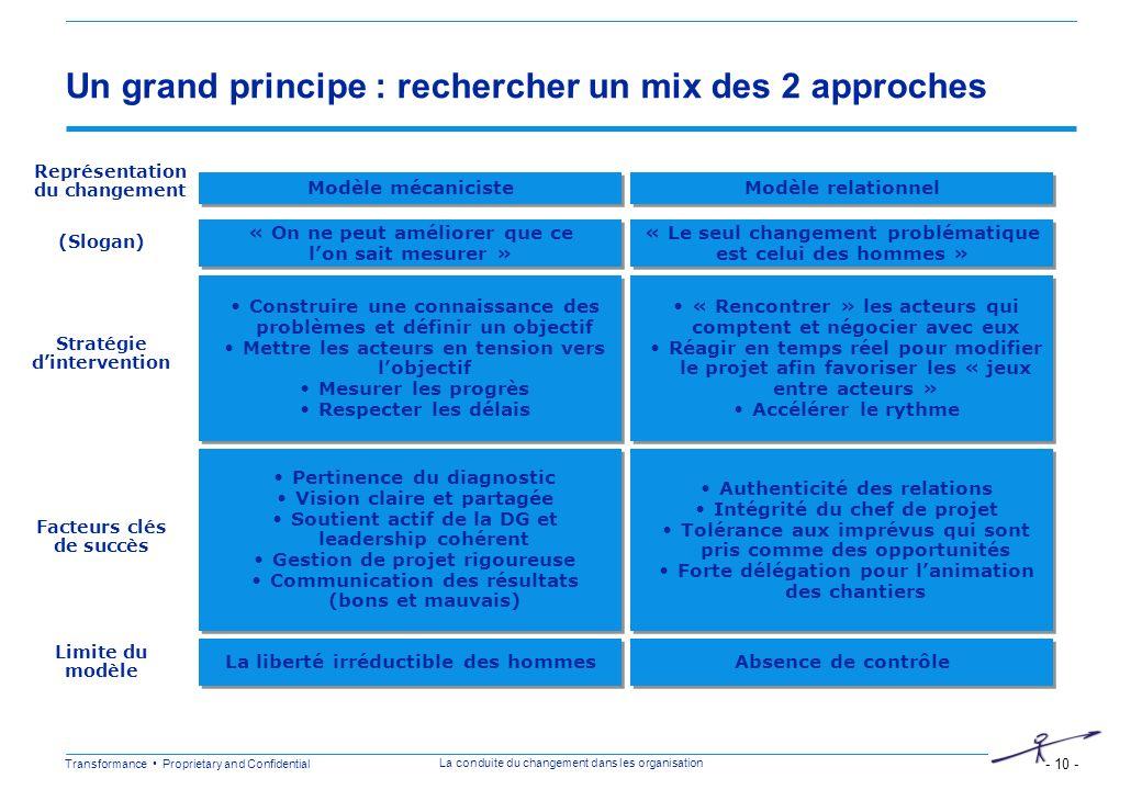Un grand principe : rechercher un mix des 2 approches