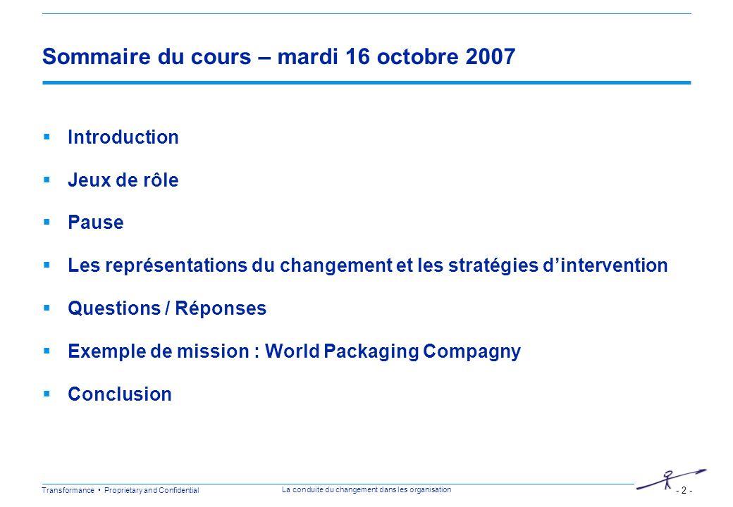 Sommaire du cours – mardi 16 octobre 2007