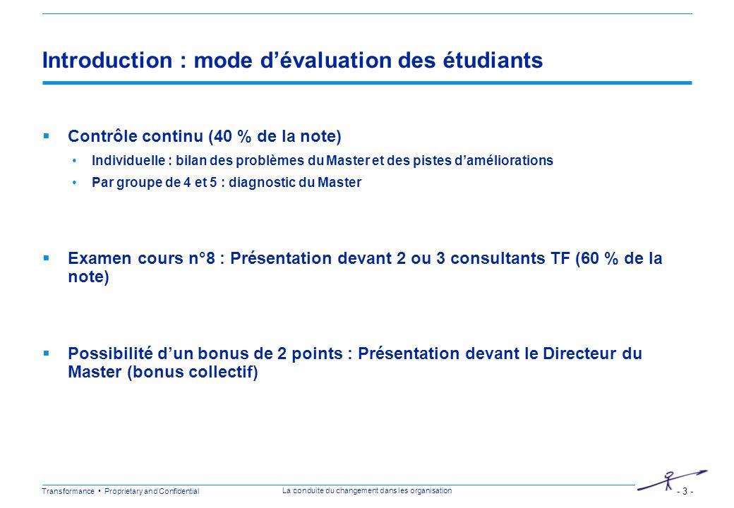 Introduction : mode d'évaluation des étudiants