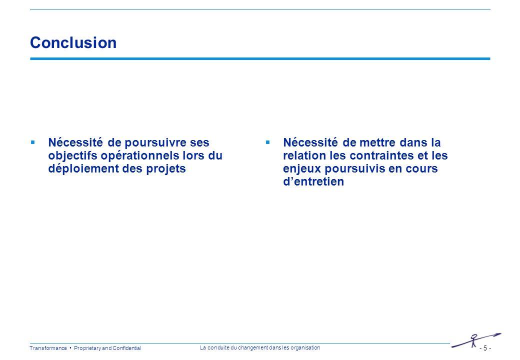 Conclusion Nécessité de poursuivre ses objectifs opérationnels lors du déploiement des projets.