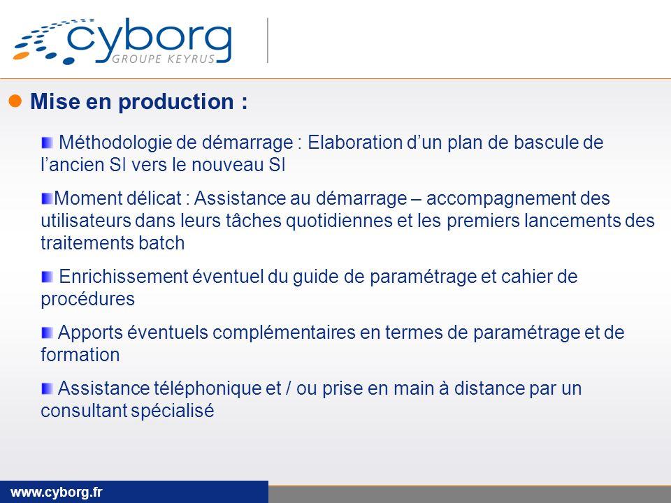 Mise en production : Méthodologie de démarrage : Elaboration d'un plan de bascule de l'ancien SI vers le nouveau SI.