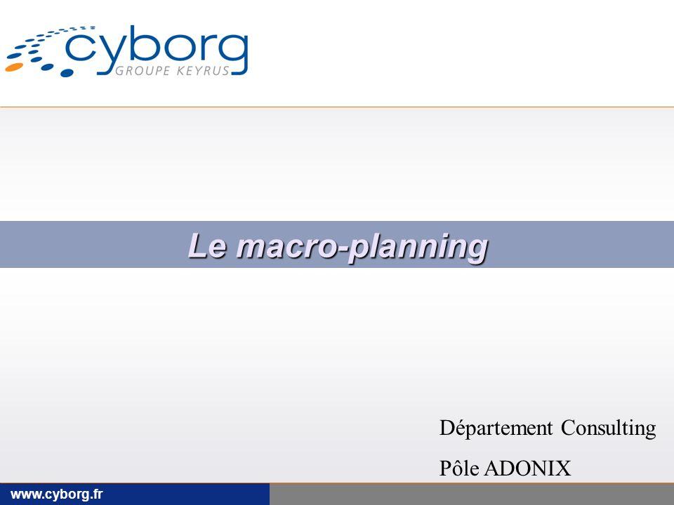Le macro-planning Département Consulting Pôle ADONIX www.cyborg.fr