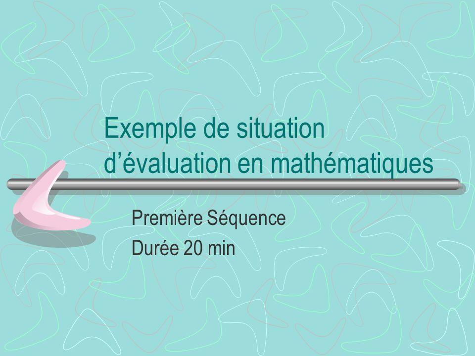 Exemple de situation d'évaluation en mathématiques