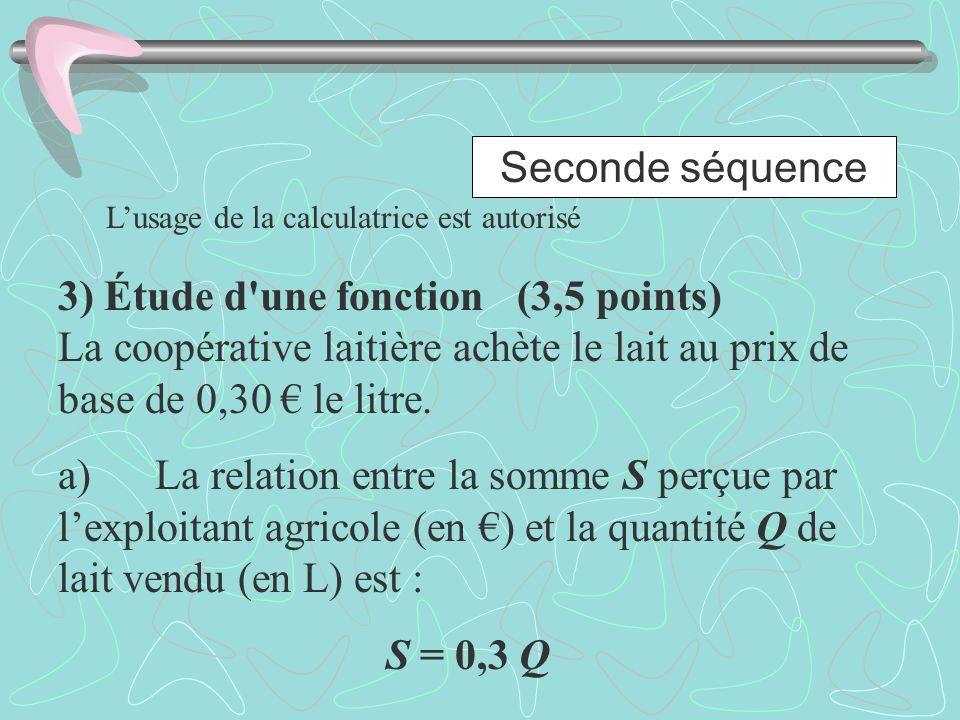 Seconde séquence L'usage de la calculatrice est autorisé.