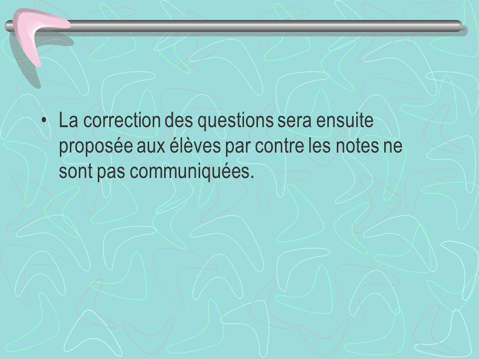 La correction des questions sera ensuite proposée aux élèves par contre les notes ne sont pas communiquées.