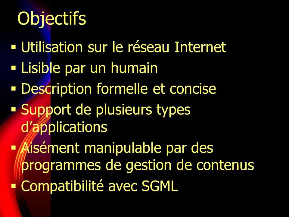 Objectifs Utilisation sur le réseau Internet Lisible par un humain