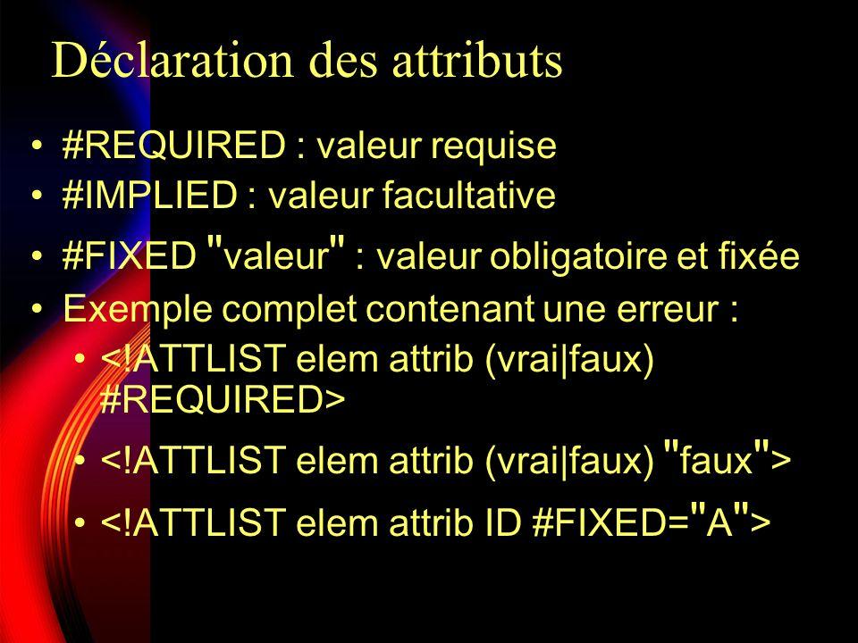 Déclaration des attributs
