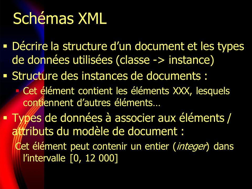 Schémas XML Décrire la structure d'un document et les types de données utilisées (classe -> instance)