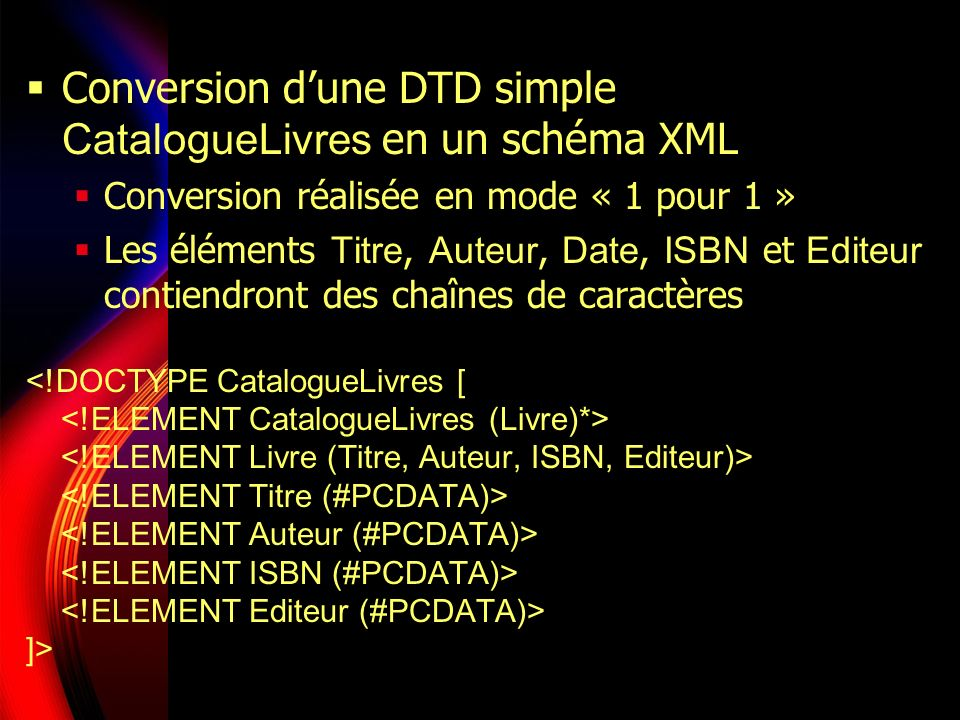 Conversion d'une DTD simple CatalogueLivres en un schéma XML
