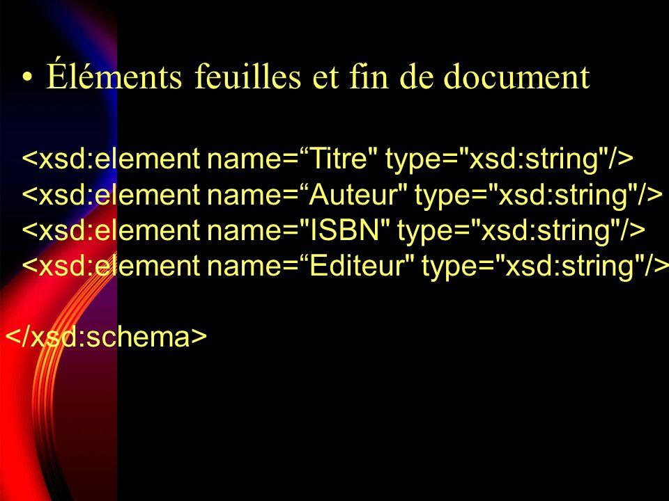 Éléments feuilles et fin de document