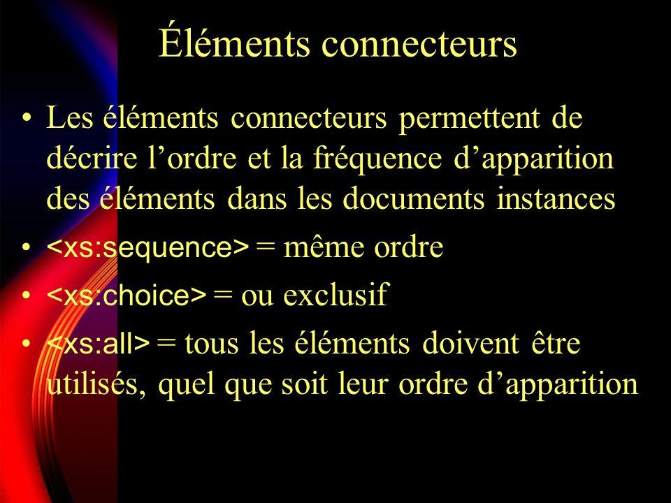 Éléments connecteursLes éléments connecteurs permettent de décrire l'ordre et la fréquence d'apparition des éléments dans les documents instances.