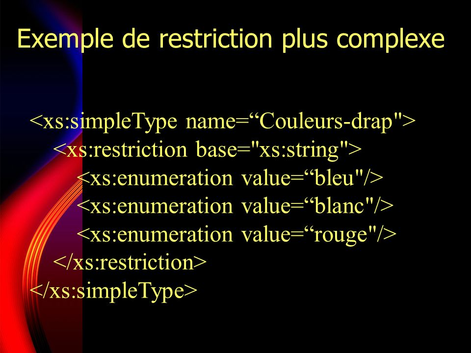Exemple de restriction plus complexe