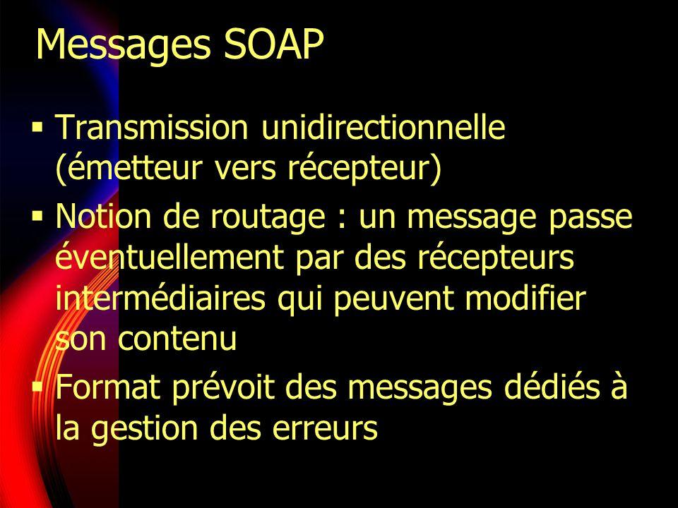 Messages SOAP Transmission unidirectionnelle (émetteur vers récepteur)