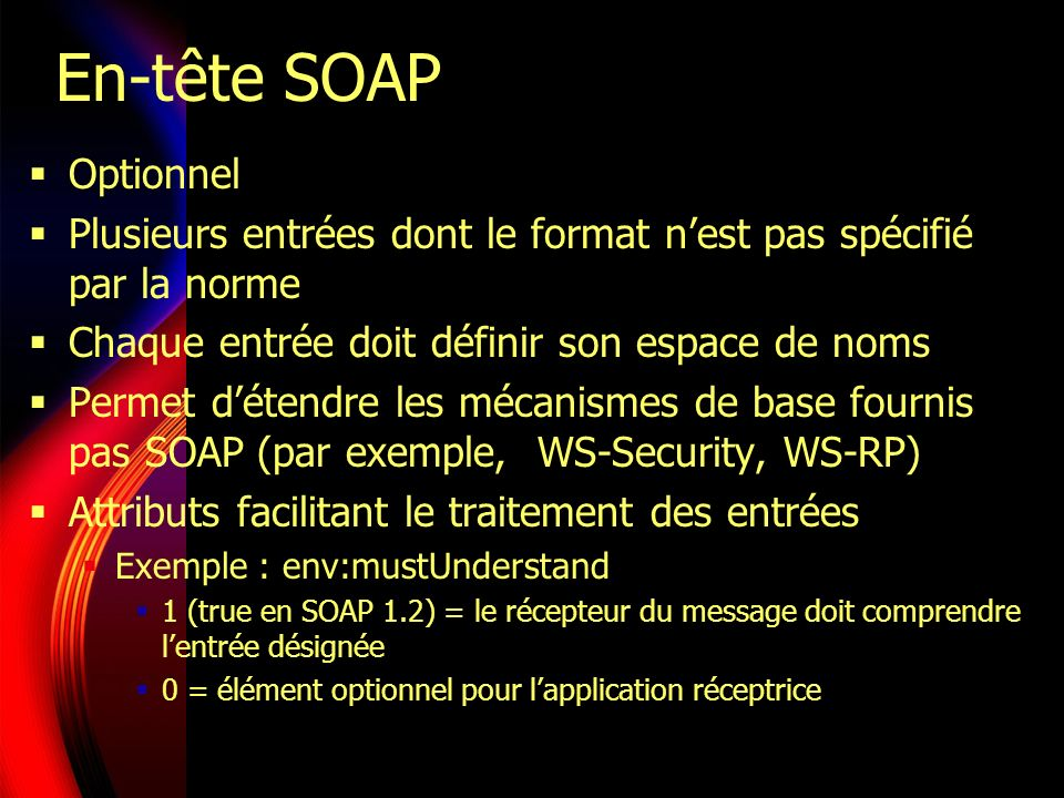 En-tête SOAP Optionnel