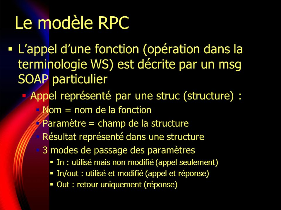Le modèle RPC L'appel d'une fonction (opération dans la terminologie WS) est décrite par un msg SOAP particulier.