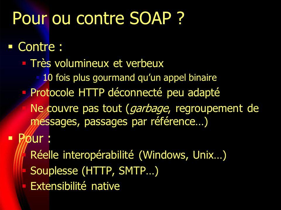 Pour ou contre SOAP Contre : Pour : Très volumineux et verbeux