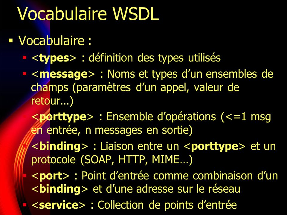 Vocabulaire WSDL Vocabulaire :