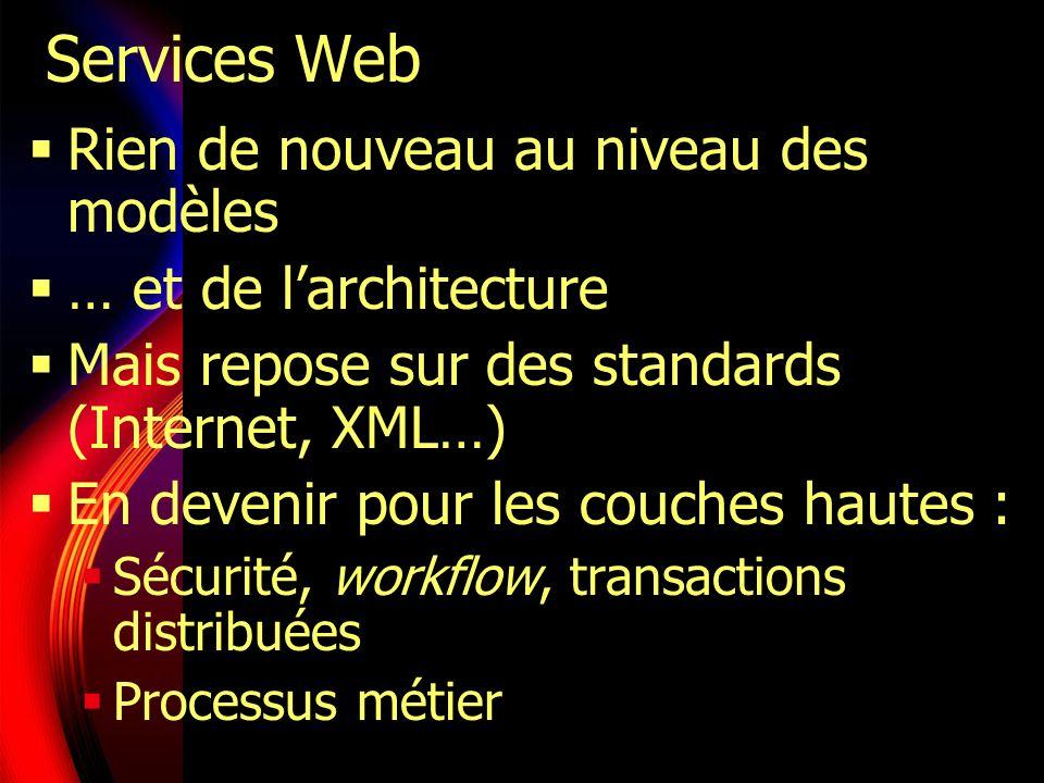 Services Web Rien de nouveau au niveau des modèles