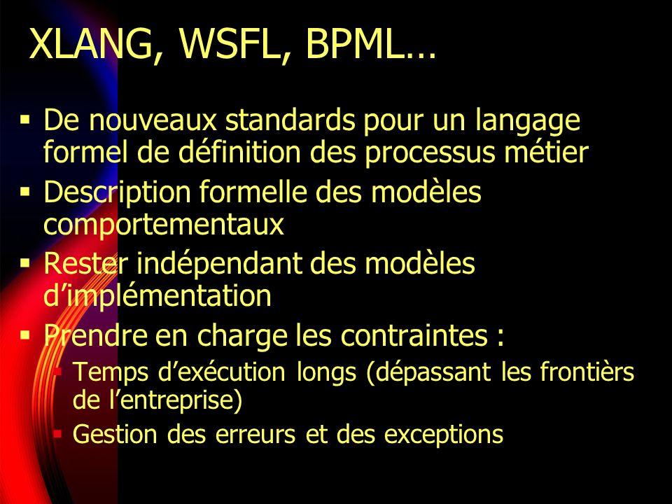 XLANG, WSFL, BPML… De nouveaux standards pour un langage formel de définition des processus métier.