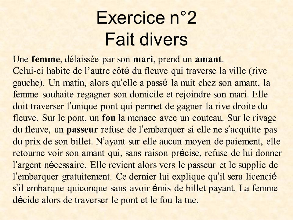 Exercice n°2 Fait divers