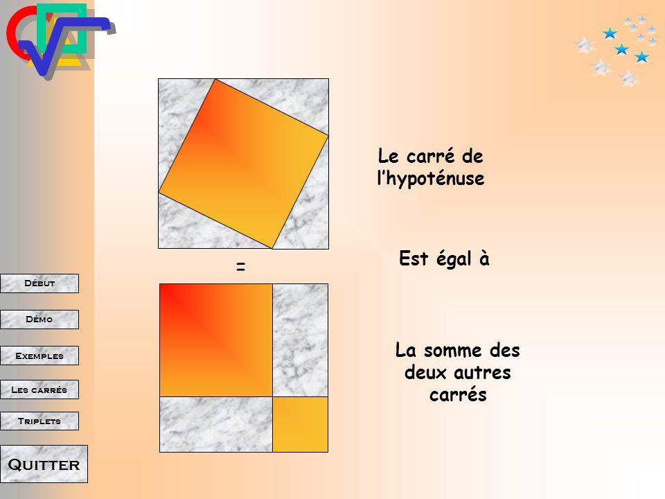 Le carré de l'hypoténuse La somme des deux autres carrés