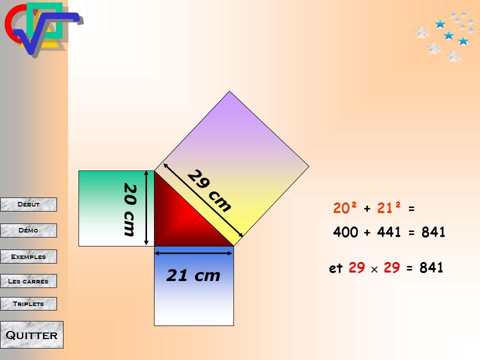 29 cm 20 cm 20² + 21² = 400 + 441 = 841 21 cm et 29  29 = 841