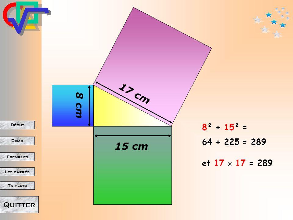 17 cm 8 cm 8² + 15² = 64 + 225 = 289 15 cm et 17  17 = 289