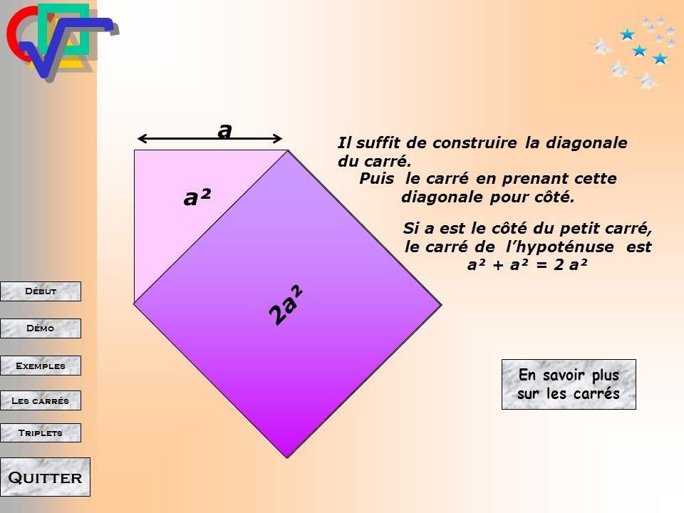 a a² 2a² Il suffit de construire la diagonale du carré.