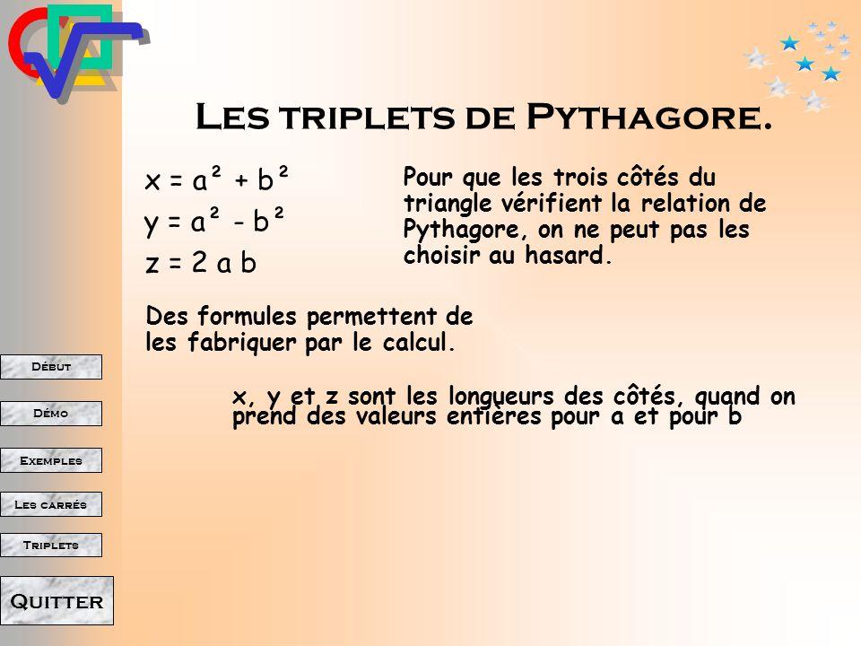 Les triplets de Pythagore.