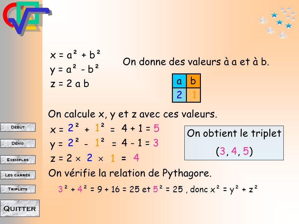 On donne des valeurs à a et à b. x = a² + b² y = a² - b² z = 2 a b a b