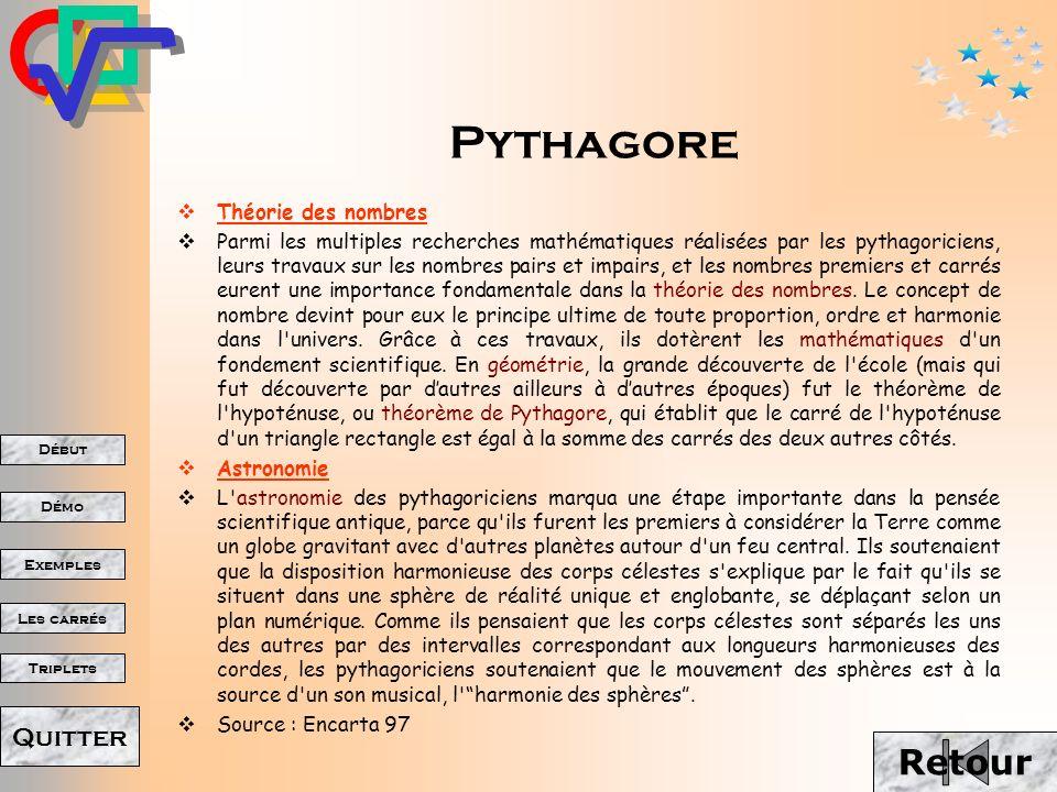 Pythagore Retour Théorie des nombres