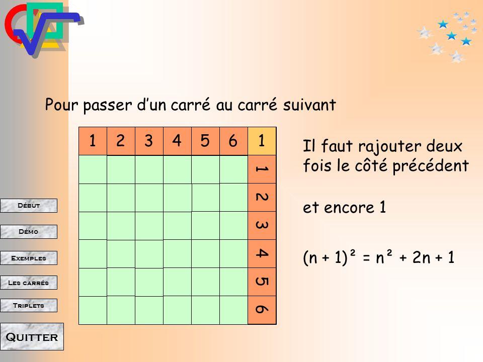 Pour passer d'un carré au carré suivant