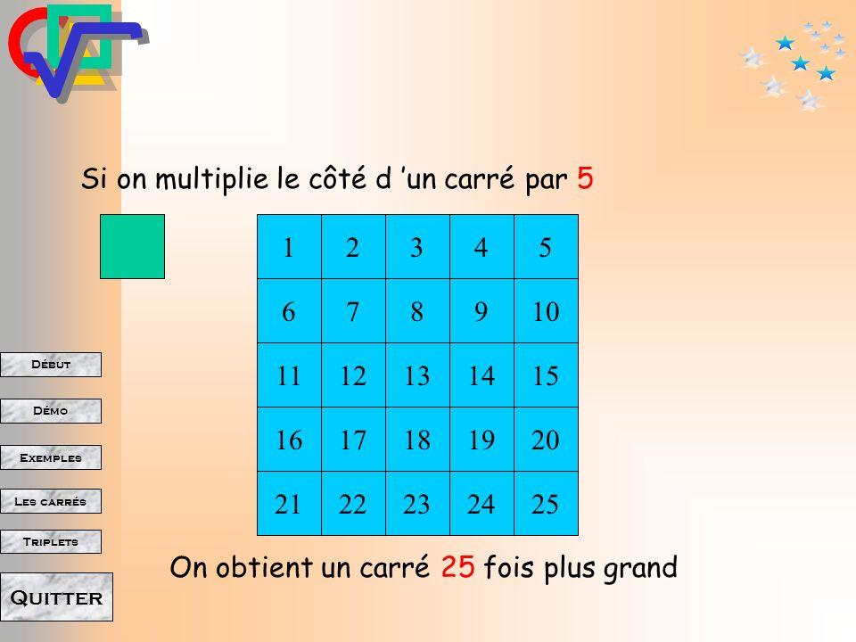 Si on multiplie le côté d 'un carré par 5