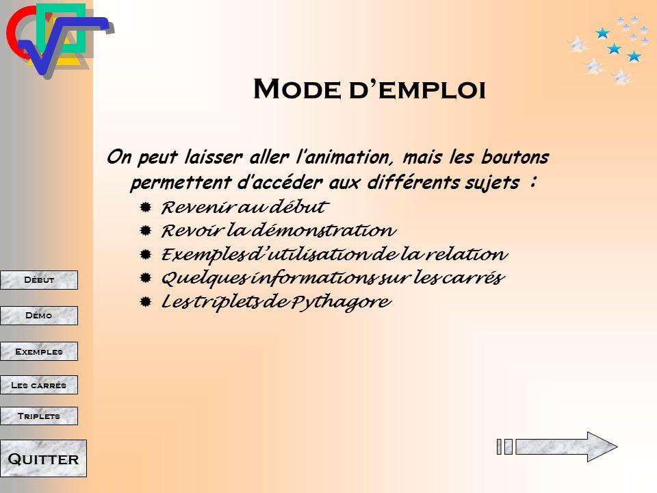 Mode d'emploi On peut laisser aller l'animation, mais les boutons permettent d'accéder aux différents sujets :