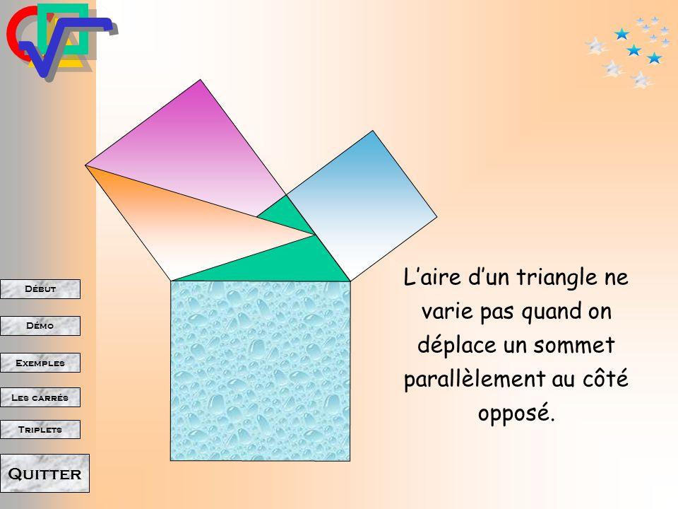 L'aire d'un triangle ne varie pas quand on déplace un sommet parallèlement au côté opposé.