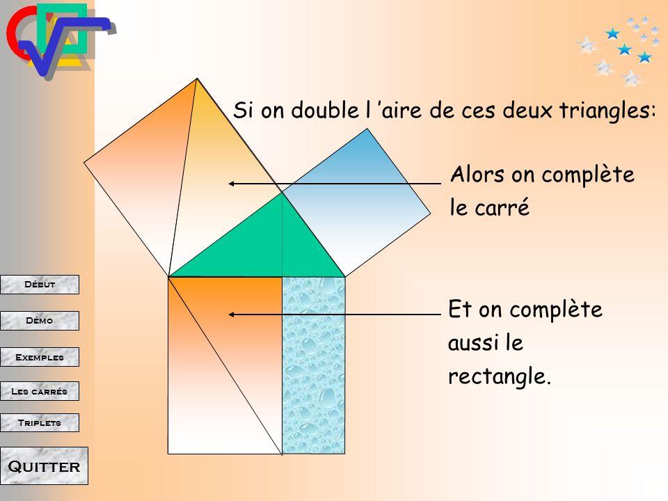 Si on double l 'aire de ces deux triangles: