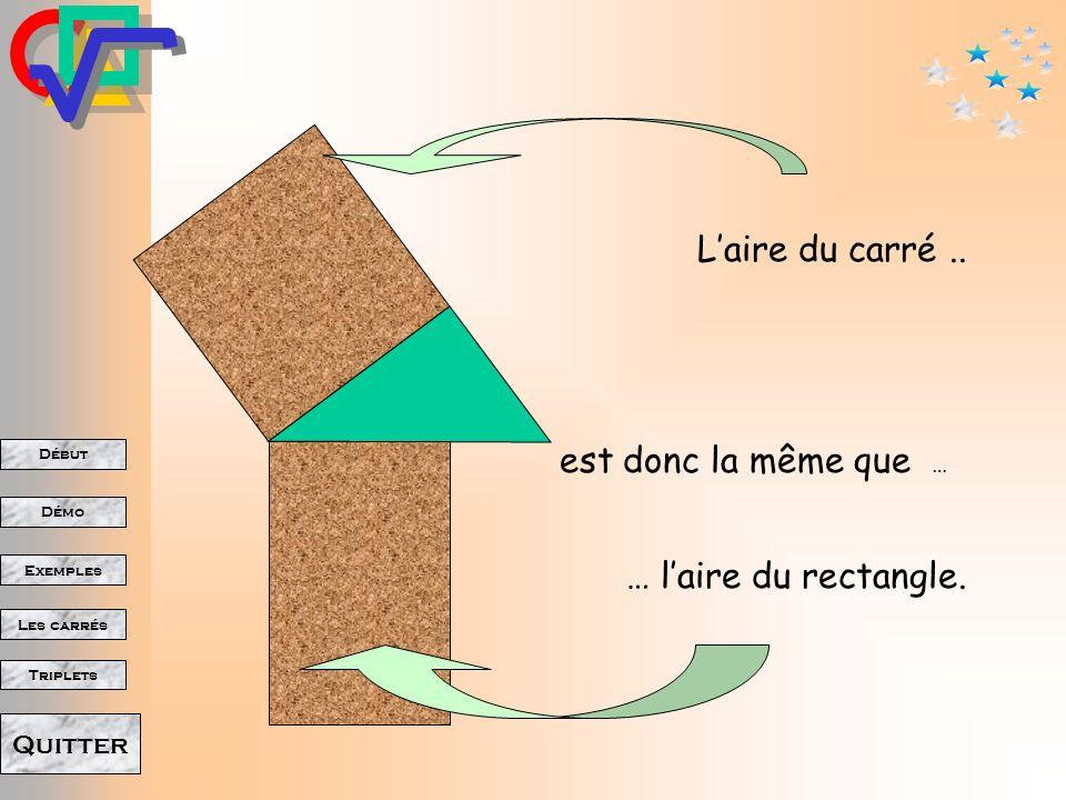L'aire du carré .. est donc la même que … … l'aire du rectangle.