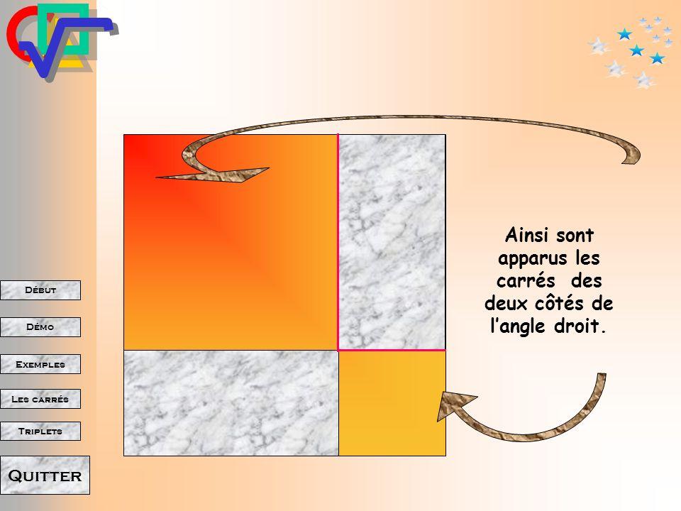 Ainsi sont apparus les carrés des deux côtés de l'angle droit.