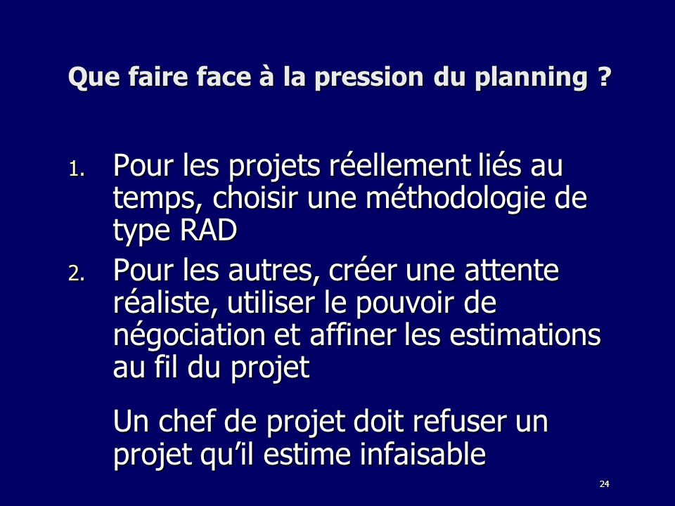 Que faire face à la pression du planning