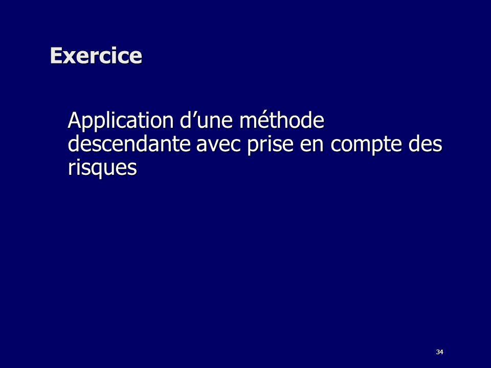 Exercice Application d'une méthode descendante avec prise en compte des risques