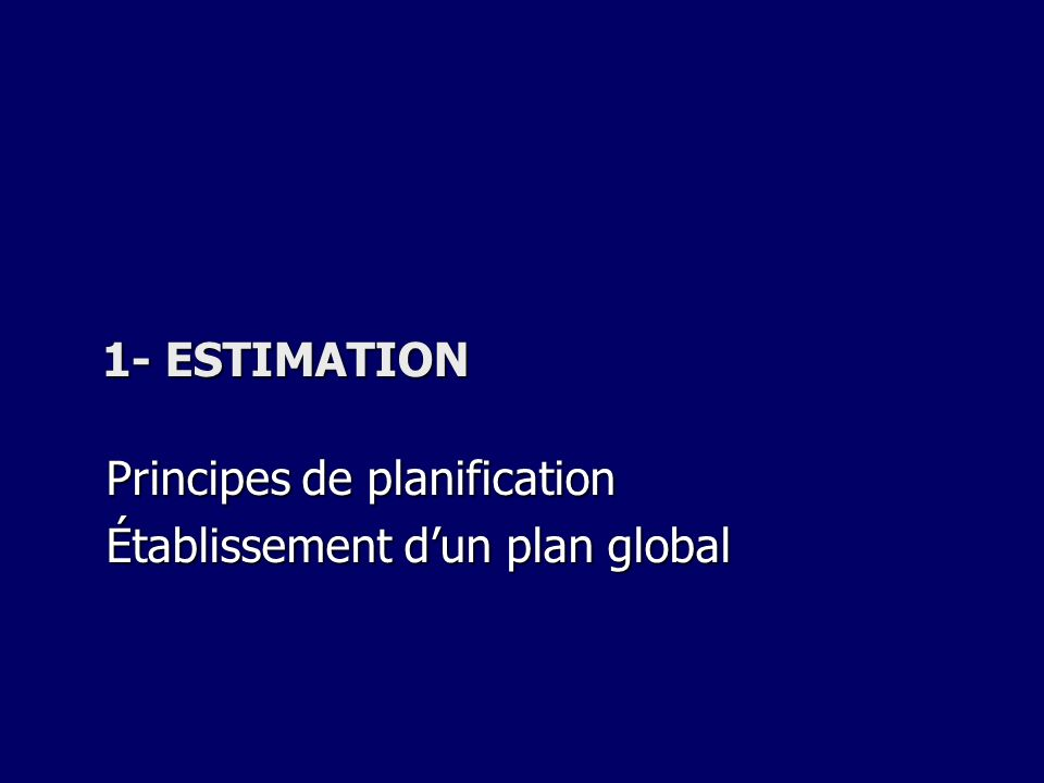 Principes de planification Établissement d'un plan global