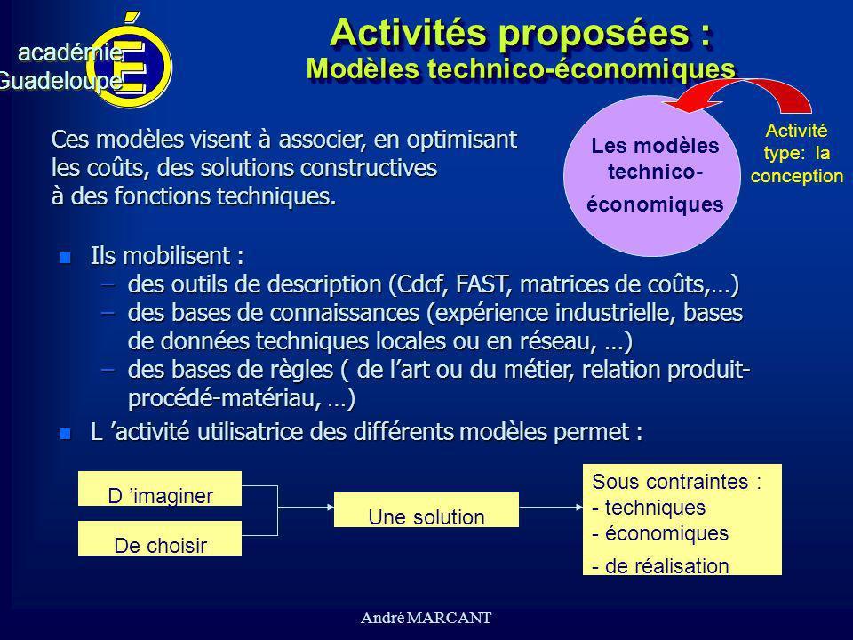 Activités proposées : Modèles technico-économiques