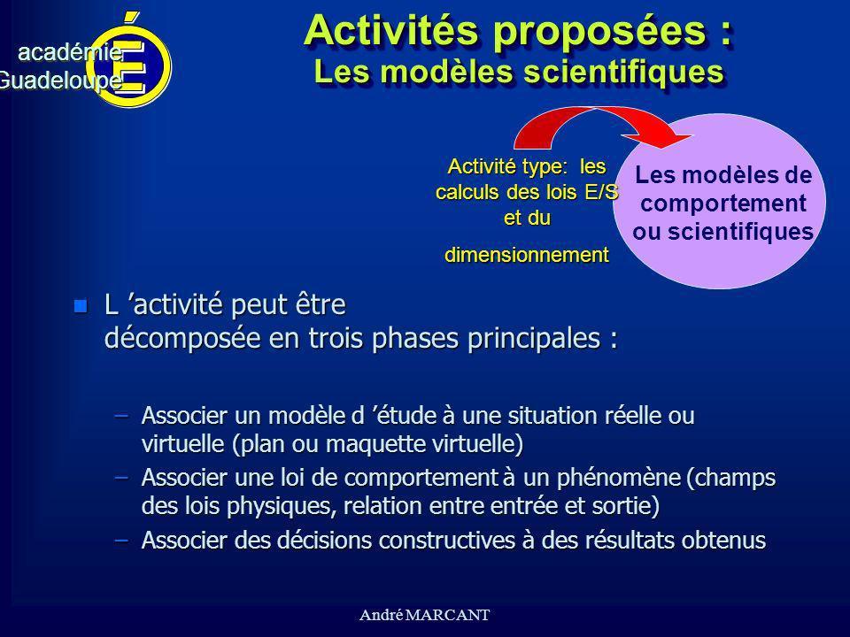 Activités proposées : Les modèles scientifiques