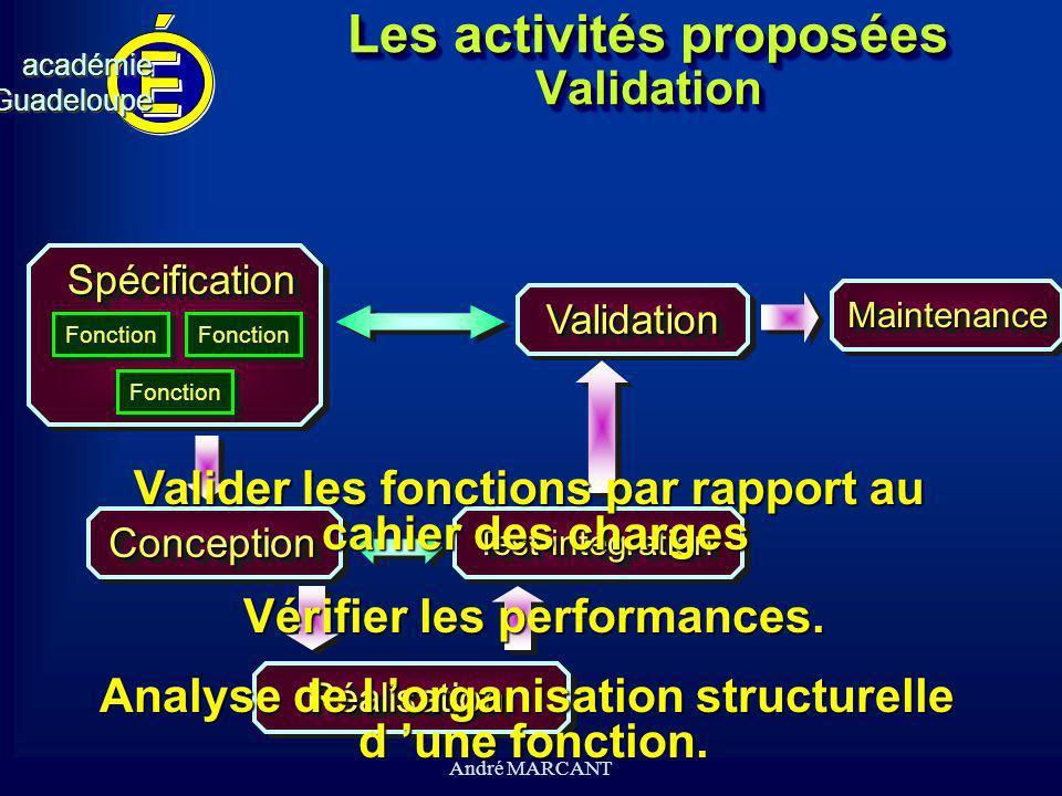 Les activités proposées Validation